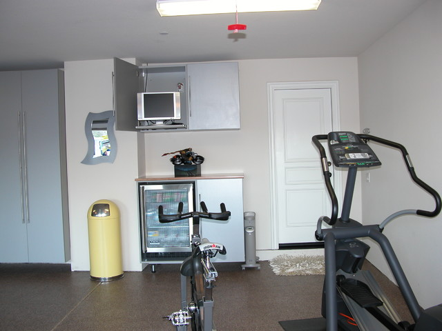Garage exercise area modern home gym san francisco by