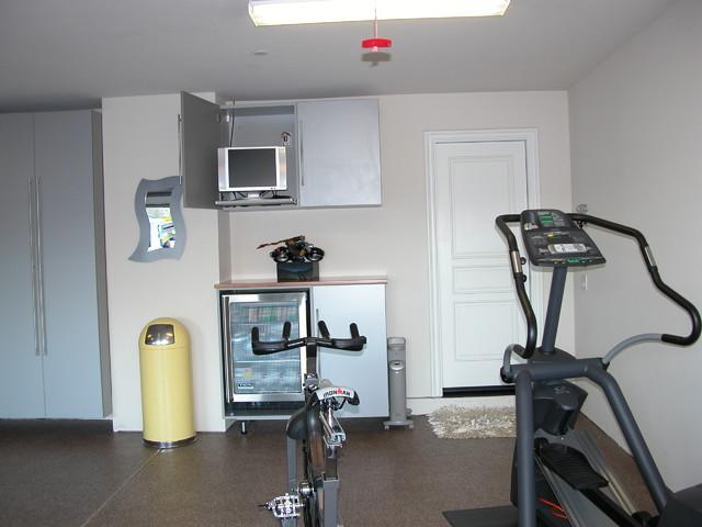 Garage exercise area modern home gym san francisco