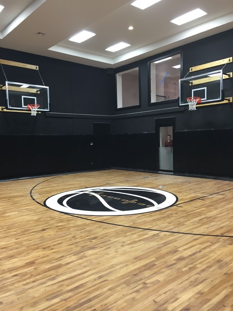Garage sport court transformation contemporary home