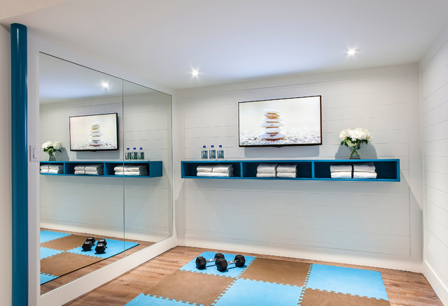Example Of A Small Trendy Home Yoga Studio Design In Toronto With White  Walls
