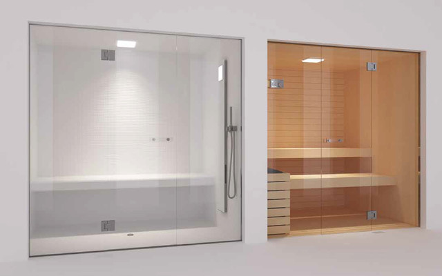 Glass Steam Room And Sauna Contemporary Home Gym
