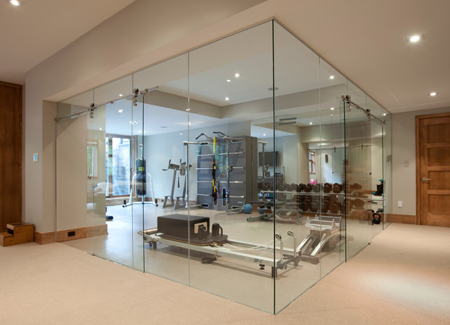 Glass wall home fitness room contemporary home gym toronto by jj home products inc - Images of home gyms ...
