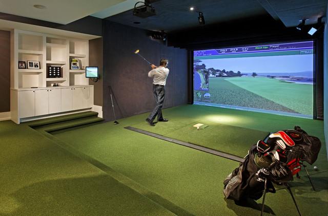 Golf media room contemporary home gym toronto by