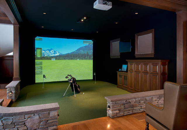 Gym amp Golf Simulator Traditional Home Boston