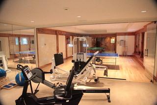 gym/game room  contemporary  home gym  new york