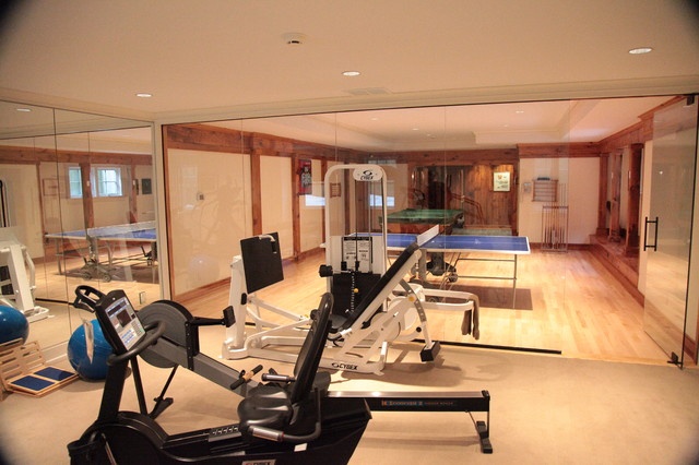 Gym game room contemporary home new york by