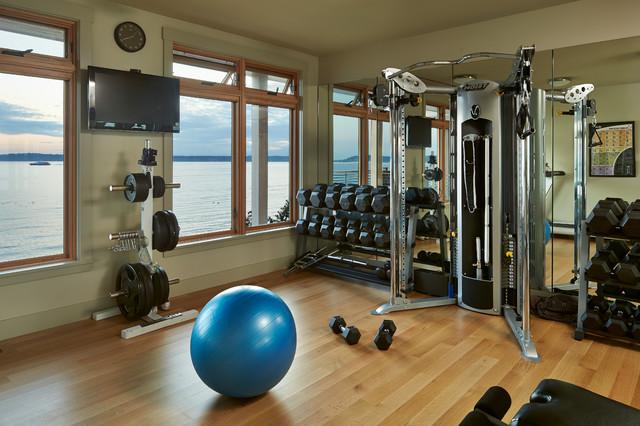Harbor house coastal home gym seattle by schultz