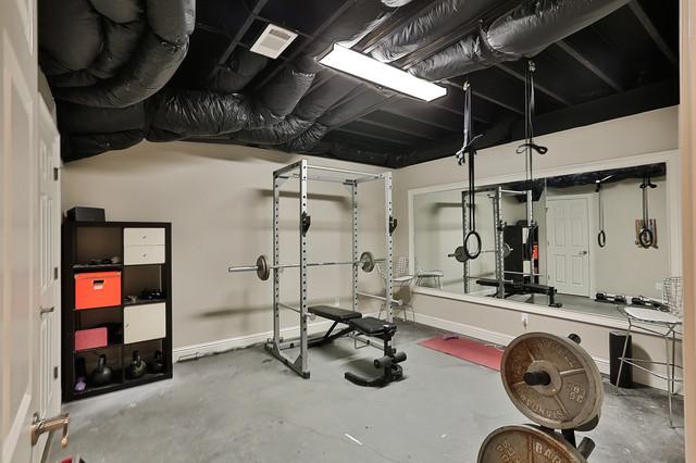 Highgrove basement transitional home gym atlanta