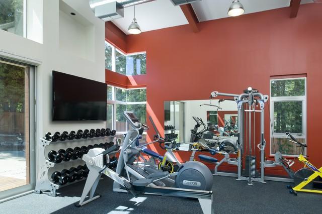 Hillside residence contemporary home gym san