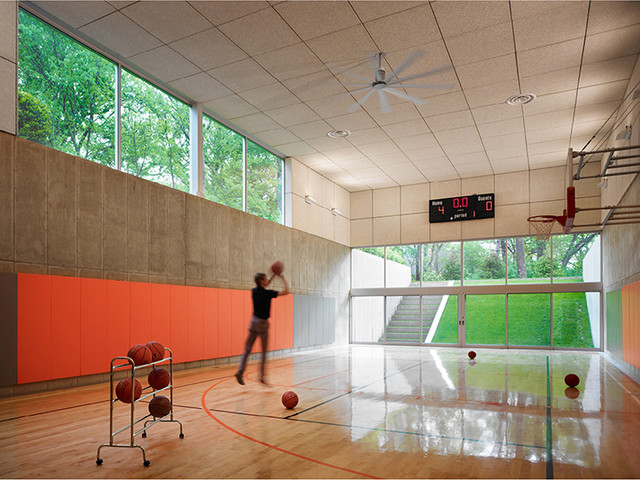 Hinsdale house contemporary home gym chicago by for Indoor basketball court installation