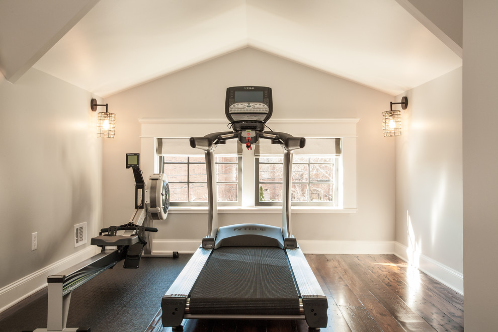 Example of a transitional dark wood floor home gym design in Atlanta with gray walls