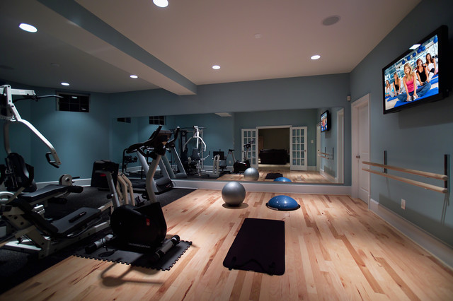 Home gym - modern light wood floor home gym idea in DC Metro with blue walls