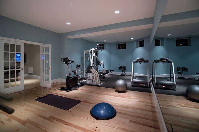 Home basement gymnasium and dance studio modern
