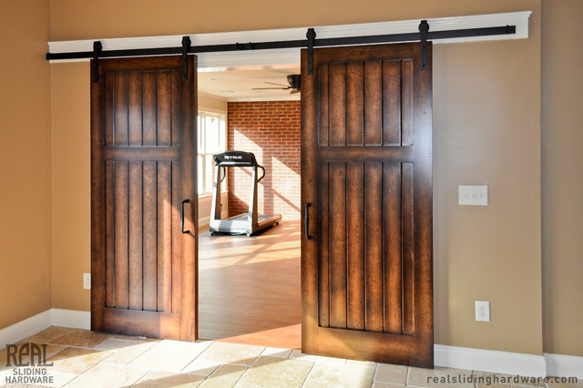 Home gym barn door hardware traditional home gym seattle