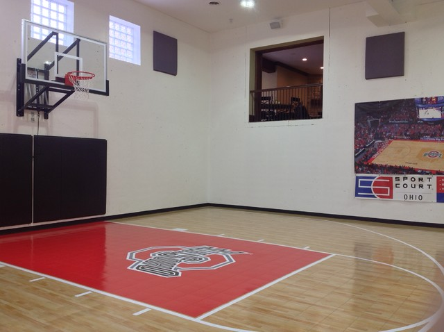 Home Gym Basketball Court With Glass Block Windows