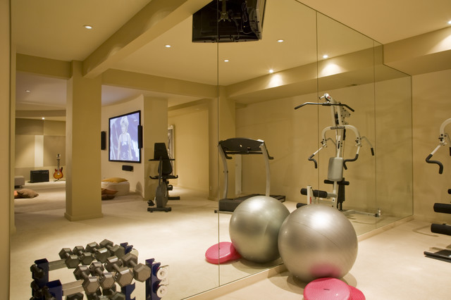 Home gym fitness studio contemporary other