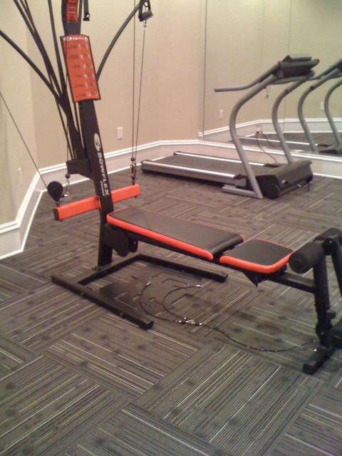 Home Gym With Commercial Carpet Squares Home gym