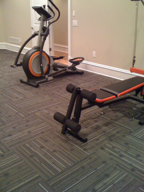 Home Gym With Commercial Carpet Squares Other