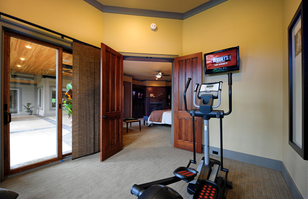 Example of a small classic carpeted and beige floor home yoga studio design in Seattle with beige walls