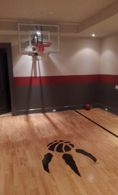 Indoor basketball court modern basement toronto by Indoor basketball court ceiling height
