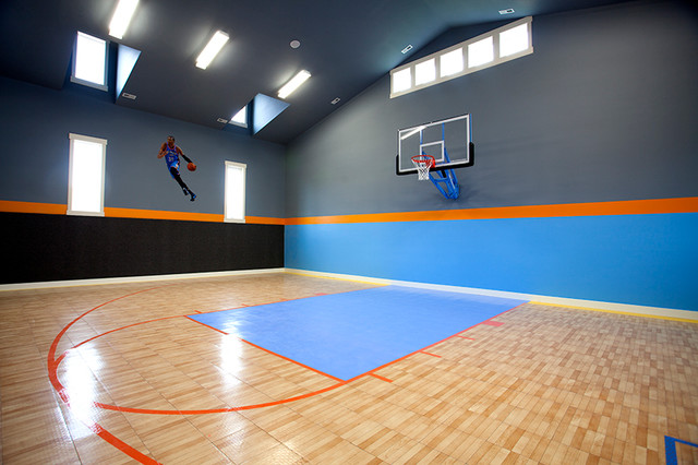 Indoor basketball court transitional home gym salt for Indoor basketball court flooring cost