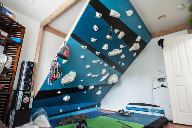 Superb Indoor Climbing Wall Modern Home Gym