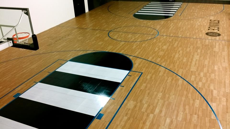 Indoor Home Gym Custom Logos And Look Waterproof Basketball Court Contemporary Home Gym Orange County By Snapsports Athletic Floors Outdoor Courts
