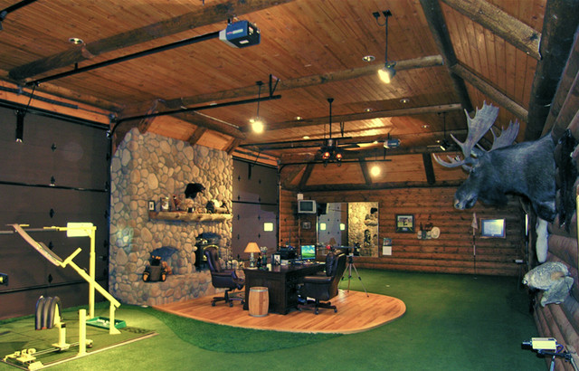Indoor putting greens rustic home gym denver by for Indoor shooting range design uk