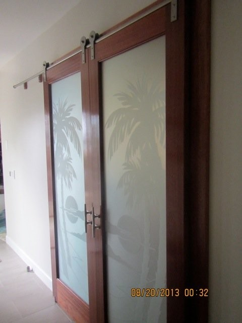 Interior glass doors palm sunset private tropical home