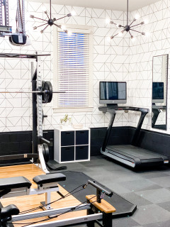 jenny reimold garage/gym  modern  home gym  nashville