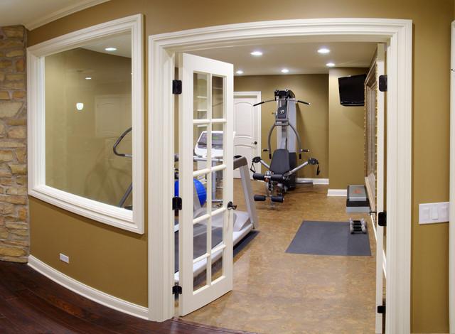 Jim gina 39 s basement traditional home gym chicago for Basement workout room