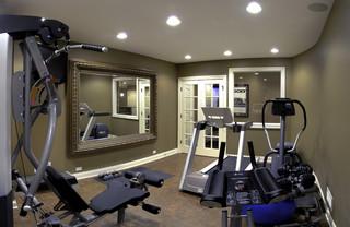 jim  gina's basement  traditional  home gym  chicago