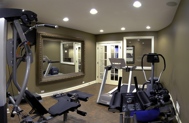 Jim gina 39 s basement traditional home gym chicago by sebring services Home fitness room design ideas