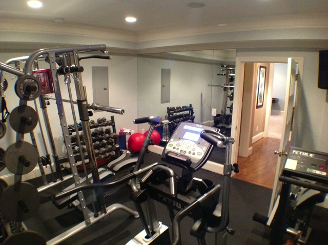 Kennesaw basement traditional home gym atlanta by the