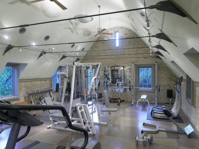 Lakefront Manor Gym traditional home gym