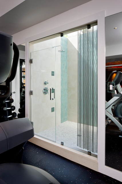 Laurel Woods Gym Shower Modern Home Gym Boston By