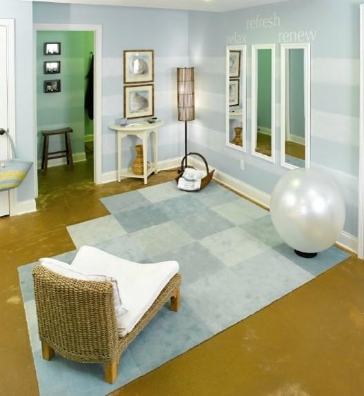 Lower level meditation area beach style home gym for Yoga room design ideas
