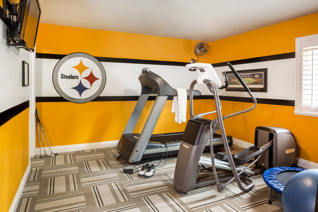 Man caves industrial home gym