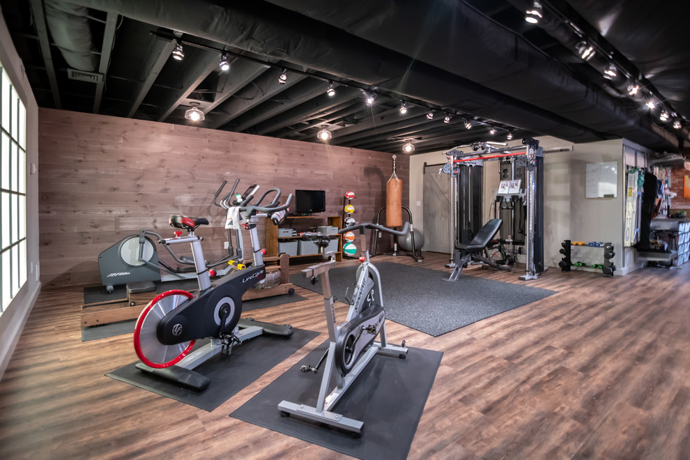 Maple Basement Remodel Home Gym Medfield Massachusetts Industrial Home Gym Boston By Masters Touch Design Build Houzz