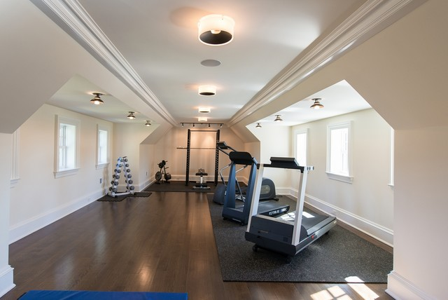 Mendham shingle style estate traditional home gym new york by passacantando architects aia for Idee deco slaapkamer baby jongen