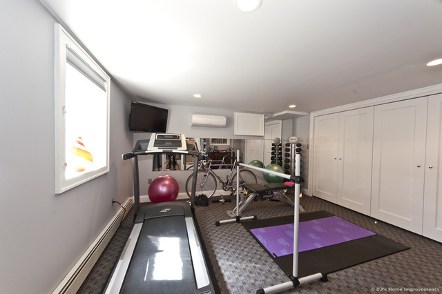 Modern Basement Home Gym Area Design With Tv Room Home Decorating Ideas