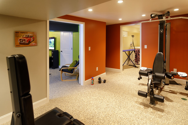 Montgomery road basement contemporary home gym
