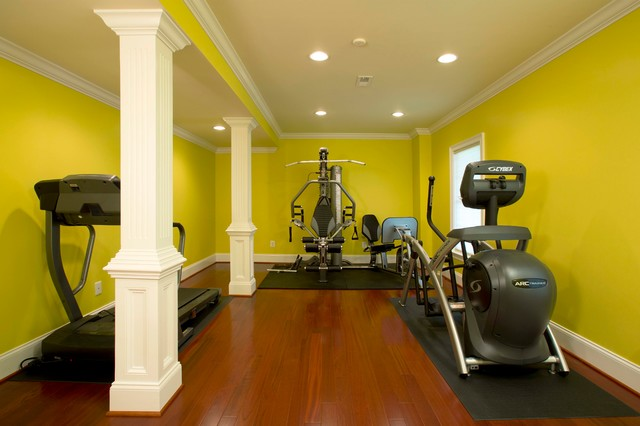 Movie Theatre Highlights Full Basement Remodel modern-home-gym