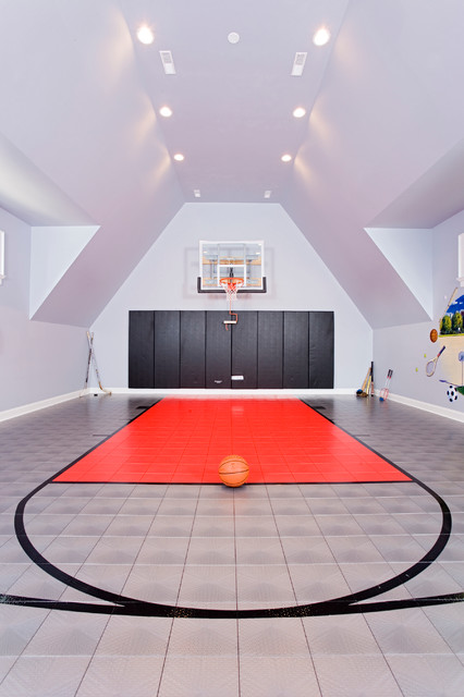 Naperville favorite contemporary home gym chicago for Indoor basketball court cost
