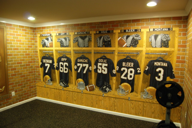 Notre dame football locker room mural by tom taylor of wow