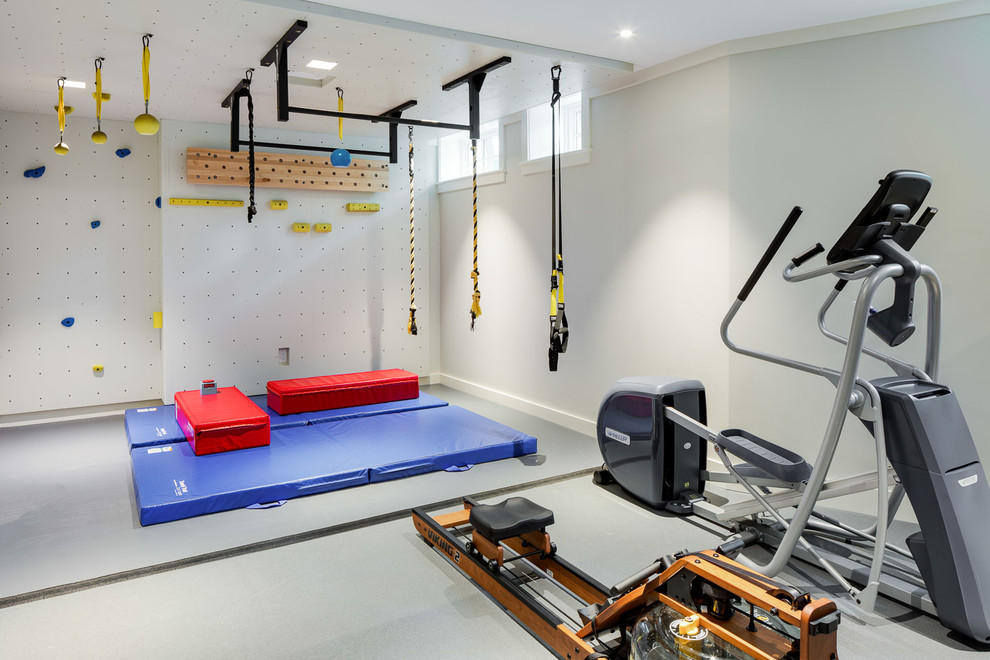 Inspiration for a timeless gray floor home climbing wall remodel in Boston with gray walls