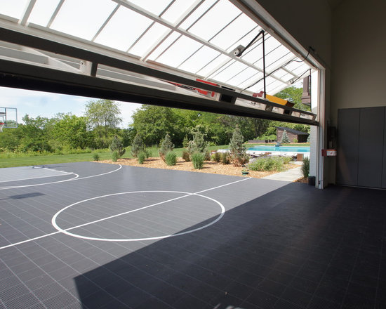 Outdoor basketball court home design ideas pictures Indoor half court basketball cost