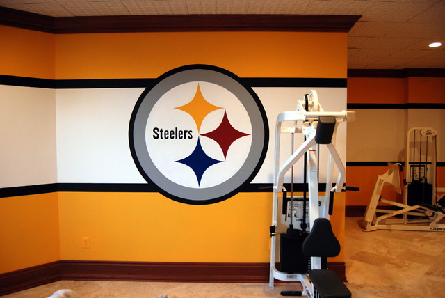 Pittsburgh Steelers 1970u0027s Locker Room Mural By Tom Taylor Of Wow Effects,  In VA Traditional