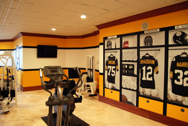 Pittsburgh Steelers 1970's Themed Locker Room Murals in a Home Gym/Game Room - Eclectic - Home ...
