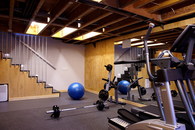 garage workout room ideas - Port Washington Residence Modern Home Gym new york